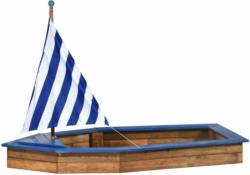 Sandkasten, Schiff-Form, 180x96x125 cm, blau-weiß gestreift