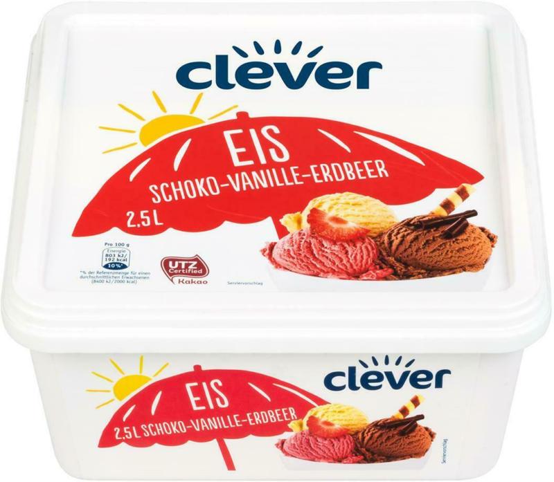 Clever Schoko-Vanille-Erdbeer Eis