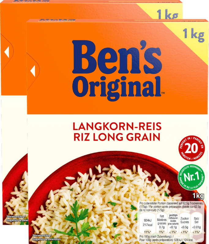 Riso a chicco lungo Ben's Original , 20 minuti, 2 x 1 kg