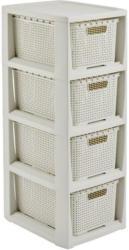 Schubladenbox Rattan Weiß , Anthrazit 24,1x29,6x64 cm