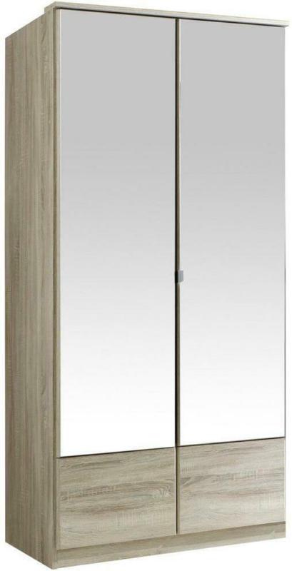 Drehtürenschrank mit Spiegel 90cm Imago, Eiche Dekor