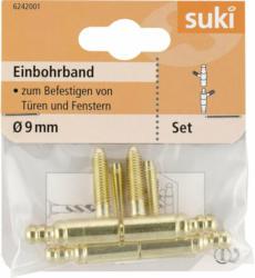 Einbohrband, Stahl, Ø0,9xØ5,4x2,5cm, vermessingt, 2 Stück vermessingt   Ø0,9xØ5,4x2,5   cm