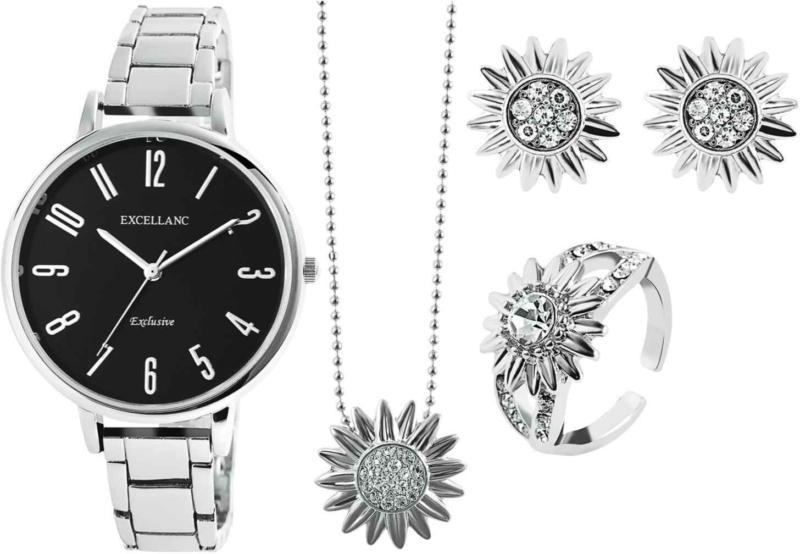 Excellanc Schmuckset mit Uhr, Ohrstecker, Halskette und Ring silber -