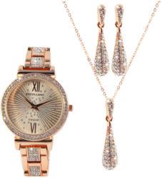 Excellanc Schmuckset mit Uhr, Ohrstecker und Halskette roségold -
