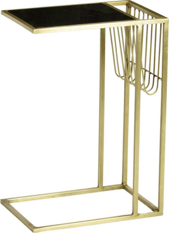 Beistelltisch in Metall, Stein 45/30/65 cm