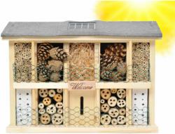 "Insektenhotel ""Landsonne"", mit Solarzelle, 47x12,5x34 cm, grau/beige"