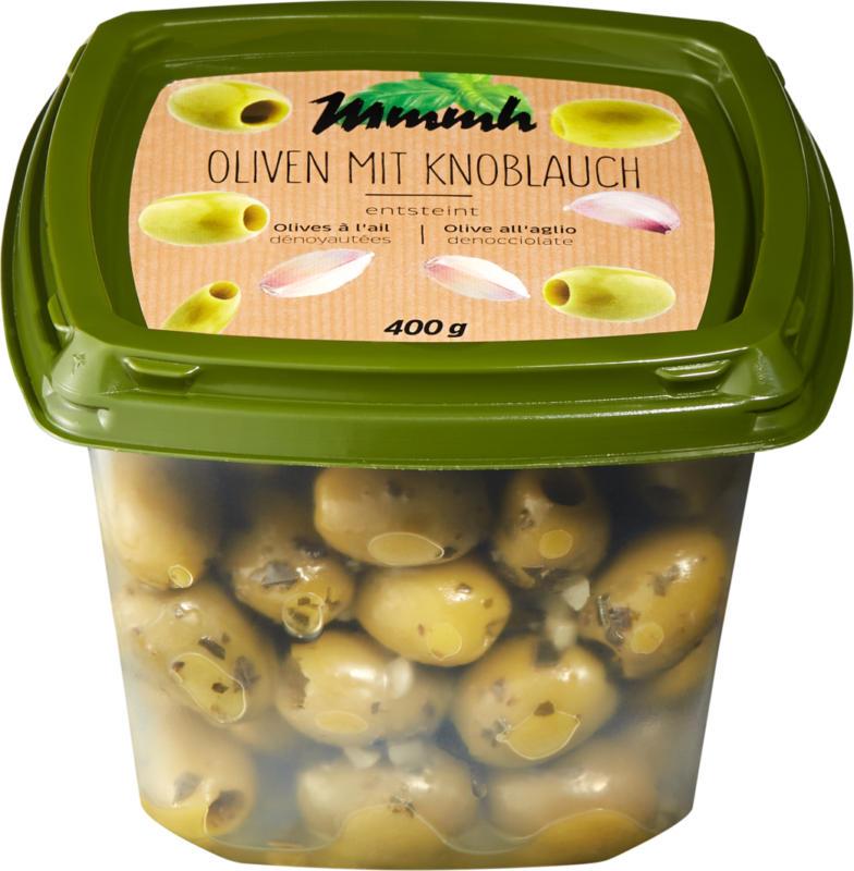 Olives vertes dénoyautées Mmmh, à l'ail, 400 g