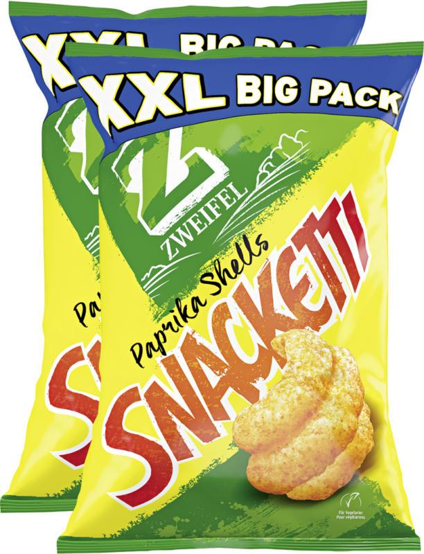 Zweifel Snacketti XXL Big Pack, Paprika Shells, 2 x 225 g