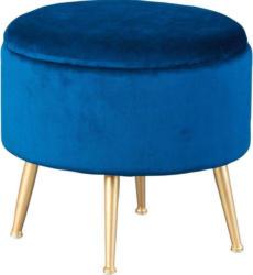 Hocker in Holz, Metall, Textil Blau, Goldfarben
