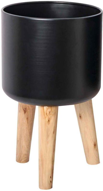Blumentopf mit Holzfüssen schwarz -