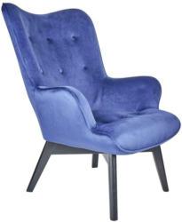 Armlehnstuhl mit Massiven Holzbeinen Samtbezug Blau