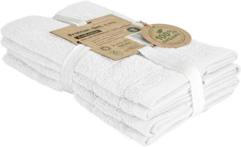 Frottierset Caithana Bio-Baumwolle in Weiß, 4 Stück