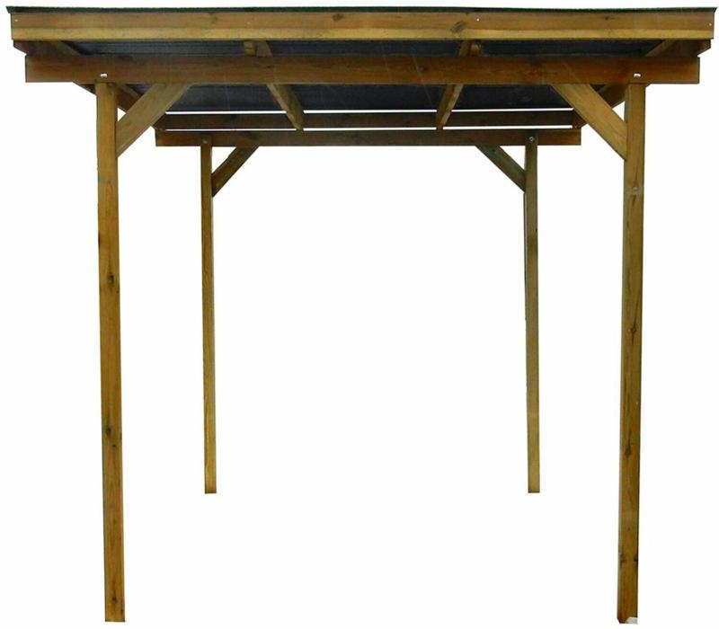 Holz Unterstand 300 cm x 250 cm /Pf. 9 x 9 cm