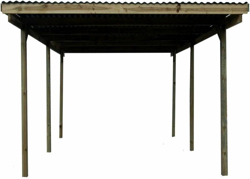 Flachdach-Einzelcarport Holz 300 cm x 495 cm