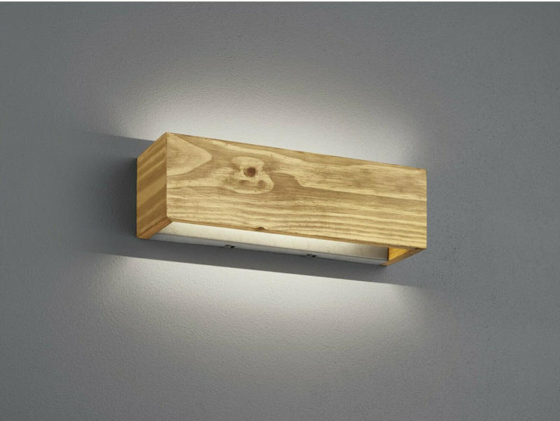 Trio LED-Wandleuchte Brad 13,5W Echtholz und Metall Nickel antik