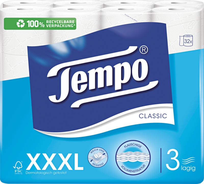Carta igienica Classic Tempo , bianca, a 3 veli, 32 x 150 strappi