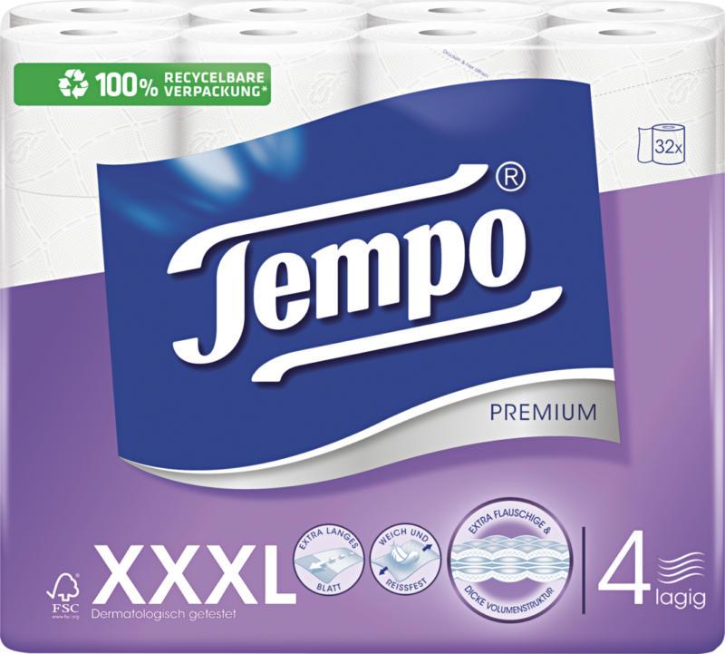 Papier hygiénique Premium Tempo, blanc, 4 couches, 32 x 110 feuilles