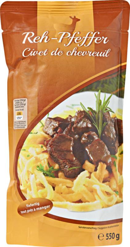 Civet de chevreuil , Autriche, cuit, 550 g