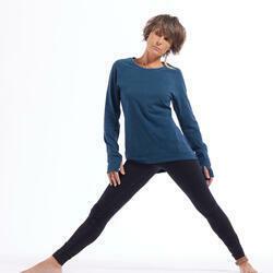 Langarmshirt sanftes Yoga Biobaumwolle Damen blau