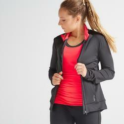 Trainingsjacke FJA 100 Fitness schwarz/rosa