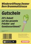 Denner Wiedereröffnung: 20% auf Früchte & Gemüse! - al 16.10.2021
