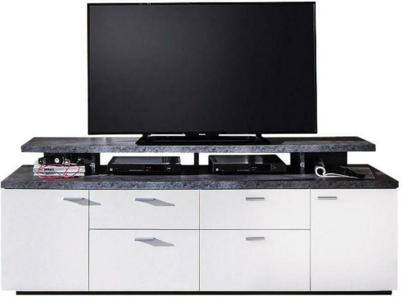 Tv-lowboard Mood Weiß Beton Dunkel Optik B/h/t: Ca. 180x65x44 Cm