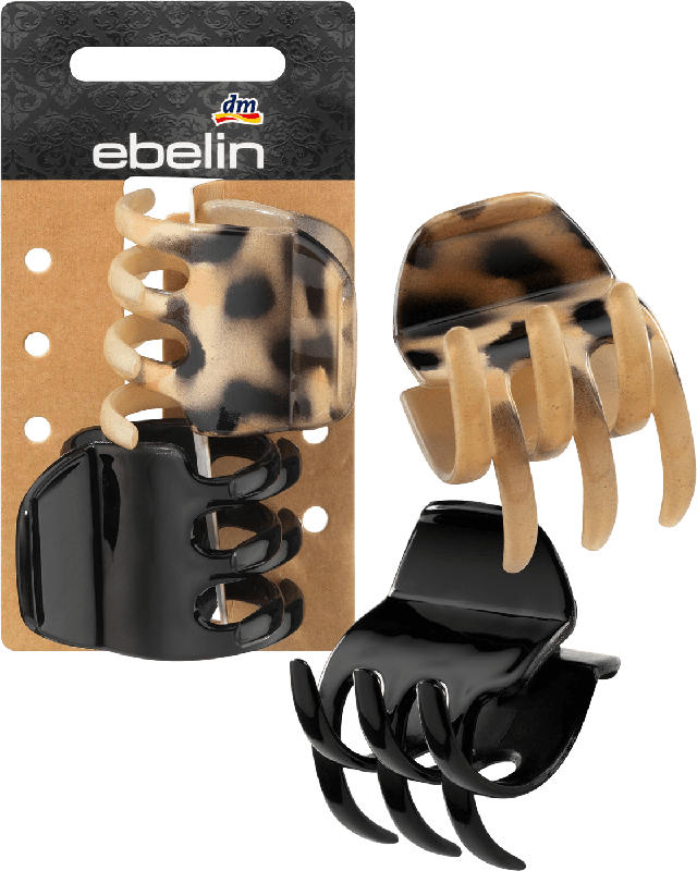 ebelin Haarspangen-Set Leo-Design / Glossy-Schwarz