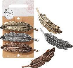 Langhaarmädchen Haarspangen-Set Feder