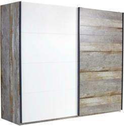 Schwebetürenschrank 271cm Moon, Driftwood/ Weiß Dekor