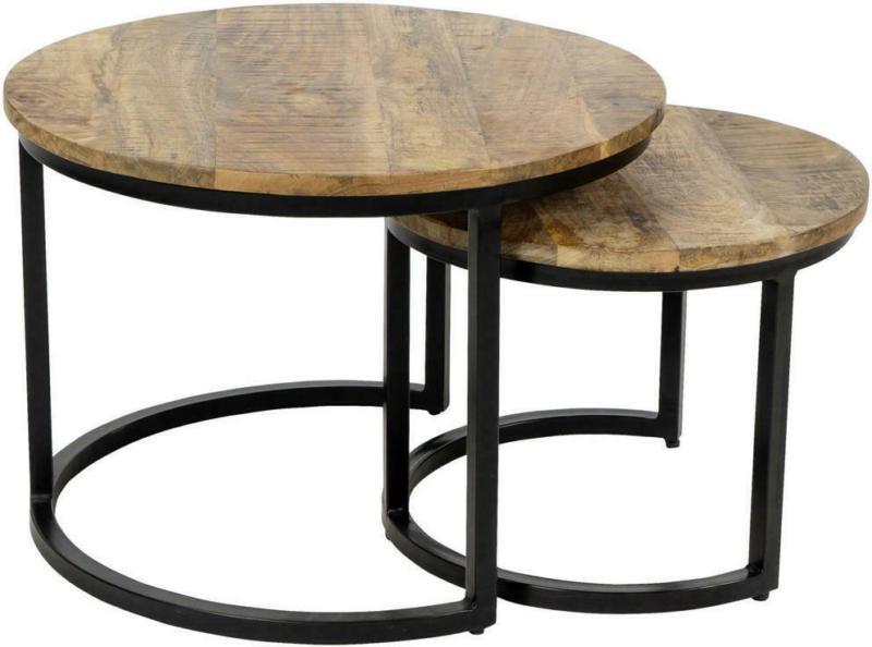 Couchtischset in Holz, Metall 55/55/41 cm