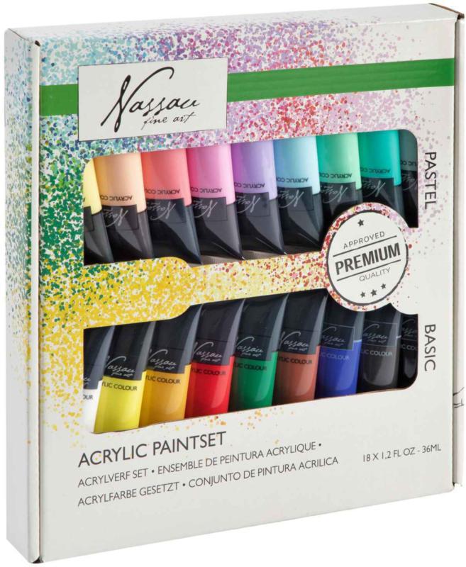 Nassau Fine Art Acrylfarben Pastell/Neon 18 x 36 ml -