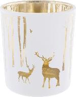 Dekorieren & Einrichten Glaskerzenhalter mit Winterlandschaft weiß-gold