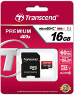 Transcend 16GB microSDHC Class 10 UHS-I 400x + SD Adapter bis zu 10 MB/s NEU OVP