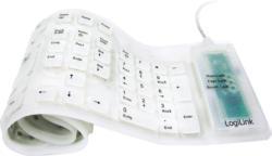 LogiLink Silikon Tastatur USB & PS/2, weiß NEU OVP Aufrollbar Plug & Play