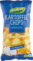 Dennree Kartoffelchips gesalzen 125g Packung