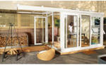 Nordic Terrassenüberdachung Sol, Glas Dach Celsius Elite links, weiß