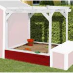 Weka Pergola Tabaluga für Kinderspielhaus 818 inkl. Sandkasten, rot/weiß
