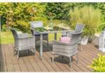 Haveson Gartenmöbel-Set Menorca II inkl. Kissen, Tisch 90 cm, grau meliert