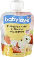 babylove Quetschbeutel Erdbeere & Apfel in Banane mit Joghurt ab 1 Jahr
