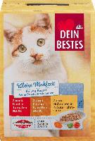 Dein Bestes Nassfutter für Katzen, kleine Mahlzeit, Beutel mit feinen Stückchen in Sauce, 6 x 50g