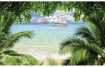 Fototapete Segelschiff hinter Palme