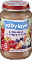 babylove Früchte Erdbeere & Himbeere in Apfel nach dem 4. Monat