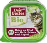 Dein Bestes Bio Nassfutter für Katzen, reich an Rind mit Kalb, Erbsen und Rapsöl