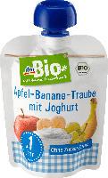 dmBio Quetschbeutel Apfel-Banane-Traube-Joghurt ab 1 Jahr