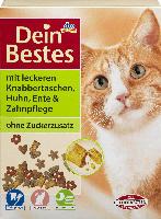 Dein Bestes Trockenfutter für Katzen mit leckeren Knabbertaschen mit Huhn, Ente & Zahnpflege