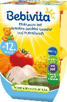 Bebivita Kindermenü Makkaroni auf Tomaten-Zucchini-Gemüse und Putenfleisch ab 12. Monat, 2x250g