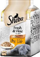Sheba Nassfutter für Katzen, Fresh&Fine Geflügel Variation, Multipack 6x50g