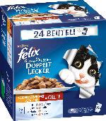 Felix Nassfutter für Katzen, Doppelt, Lecker Fleisch, 24x100g