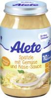 Alete Menü Spätzle mit Gemüse und Käse-Sauce ab 10. Monat