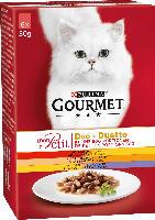 GOURMET Nassfutter für Katzen, Mon Petit Duo Fleisch, 6x50g